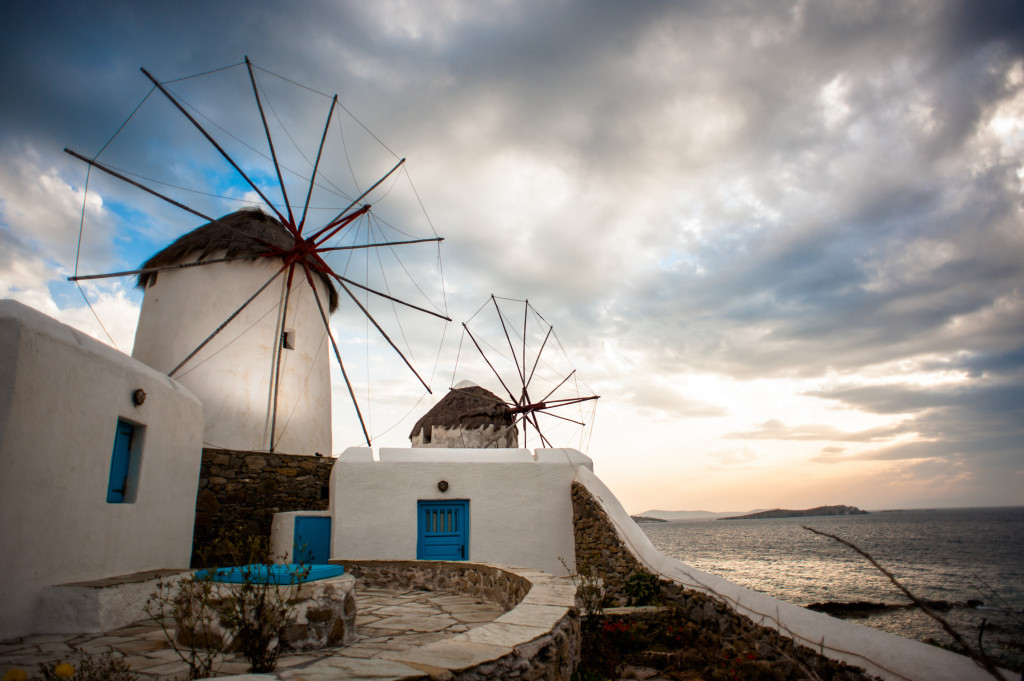 Windmills of the Mykonos Island, Chora. Cyclades, Agean Sea, Greece.